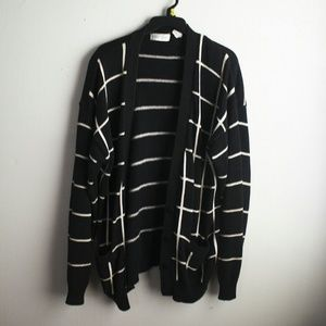 Vintage Sweaters - Striped Oversized Buttoned Cardigan
