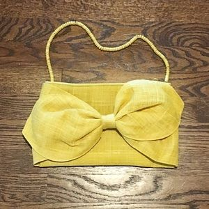 👜Yellow Burlap Bow Clutch w/Removable Strap
