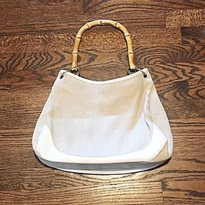 👜Cream Canvas Purse w/Bamboo Handles