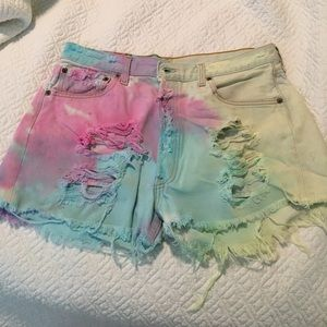 Urban outfitters high waisted ty dye ripped shorts