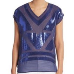 Saks Fifth Avenue Tops - Saks Fifth Avenue Navy Blue Sequin Blouse