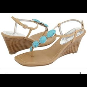 Jessica Simpson Shoes - NWT Jessica Simpson Hogan Wedge Sandals Turquoise