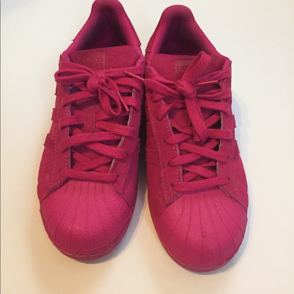 Adidas Shoes - Adidas Hot Pink Suede Superstars ac98d460c4