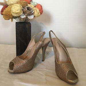 Gold Glitter Stiletto Heels