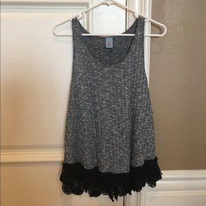 Tops - [LIKE NEW]: Heather Grey Tank w/ Black Lace Hem