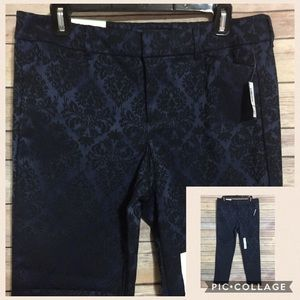 Old Navy Pixie Pants Blue Brocade Ankle Length