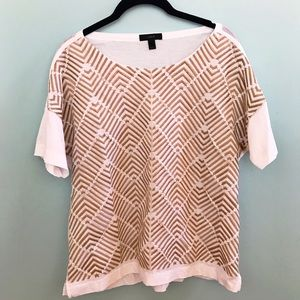 J. Crew White and Gold Design Tee
