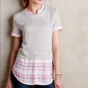 EUC Anthro  9-H15 STCL Plaid Sweater Combo Blouse