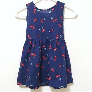 Other - Boutique Navy Blue Cherry Tie Back Dress