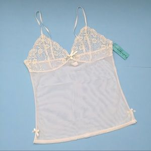 NWT WHITE MESH CAMISOLE  WITH EMBROIDERED