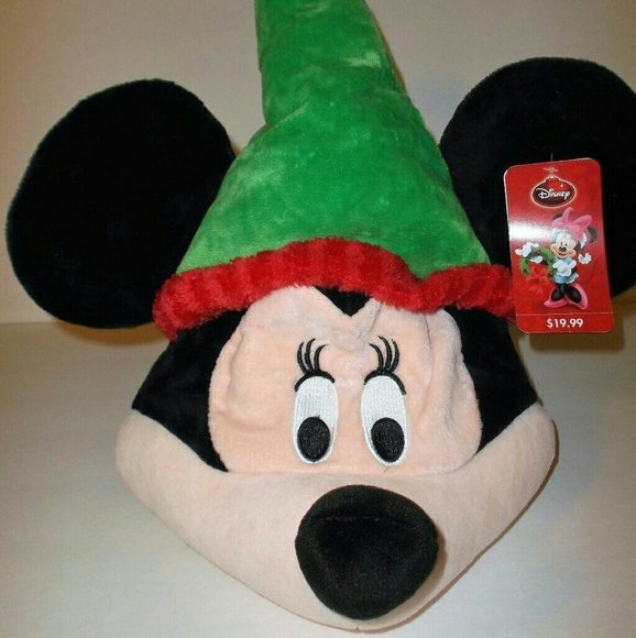 Christmas Minnie Mouse Head.Minnie Mouse Plush Head Singing Christmas Hat Nwt