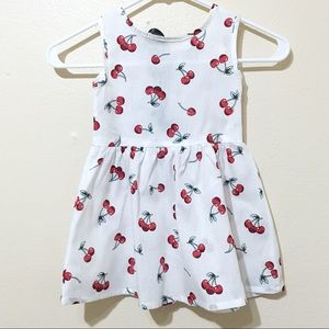 Other - White Cotton Cherry Tie Back Dress