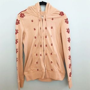 -Lucky Brand- Tan Aztec Embroidered Hoodie
