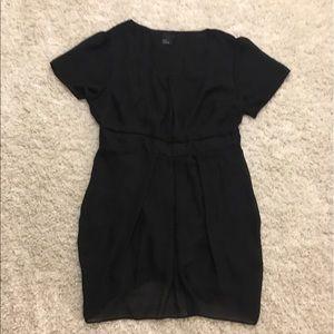ASOS Curve Dresses & Skirts - Black Tulip Shirt Chiffon Dress With Attached Belt