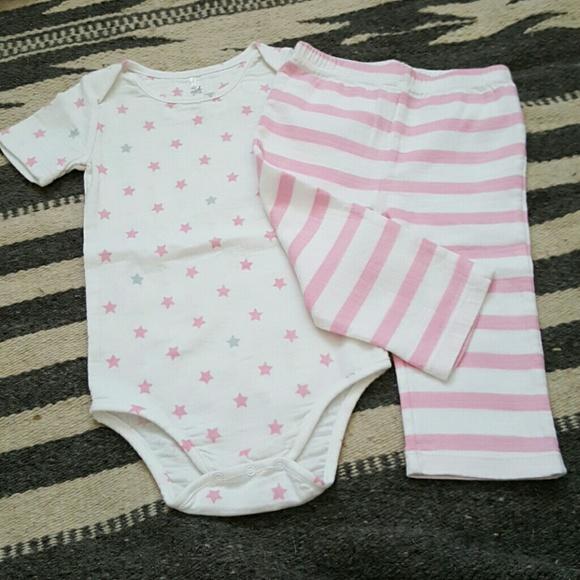 Aden Anais Baby Girl Bodysuit ~ White Pink /& Gray ~ Stars ~
