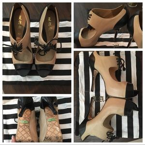 L.A.M.B. Shoes - L. A. M. B. 💯 nude and black heels