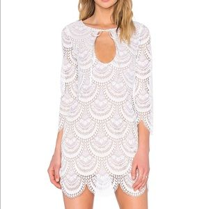 For Love and Lemons Rosalita Mini White Lace Dress