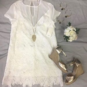 NWT Tobi White Lace and sheer dress