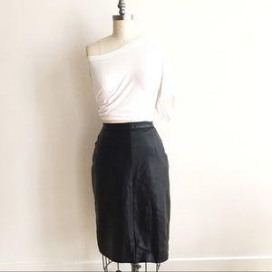 Vintage Dresses & Skirts - Vintage Black Leather Pencil Skirt!