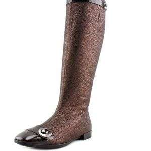 Hogan Shoes - Bronze leather and brown patent Hogan boots