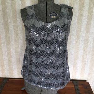 Sequined tank top.