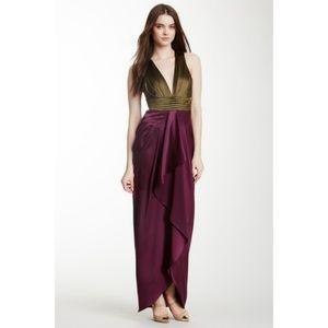 Catherine malandrino chartres colorblock silk gown