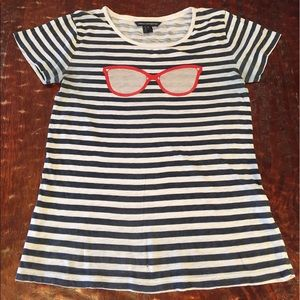 French Connection Tops - French Connection Striped Sunglasses Burnout Tee