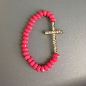 Jewelry - Pink beaded Cross bracelet