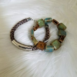 Jewelry - NEVER WORN Leather and silver + stone bracelet