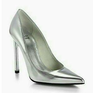 Stuart Weitzman Shoes - STUART WEITZMAN Naughty Silver Metallic Pump