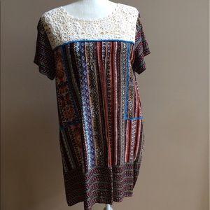 Umgee Dresses & Skirts - Crochet neckline dress