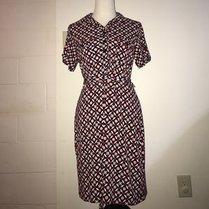 Button up nursing friendly dress blue and red 12