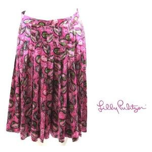 Lilly Pulitzer Dresses & Skirts - Lilly Pulitzer Pink Paisley Pleated Silk Skirt