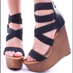 c. label Shoes - Black elastic strap platform wedge heels
