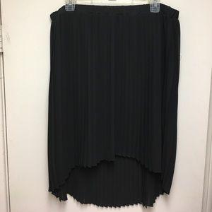 [Michael Kors] Black High-Low Pleated Skirt