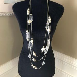 Chico's Lucite and Gold bead Statement necklace