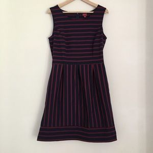 Merona Dresses & Skirts - Navy and Red Striped Sleeveless Dress with Pockets
