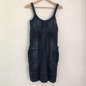 Jalate Dresses & Skirts - Distressed Denim Jumper Overall Dress with Pockets