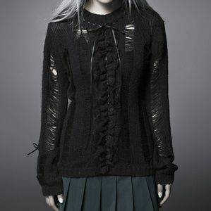 Ruffled Knit Distressed Sweater Nugoth Gothic Cute