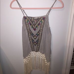 Sugar lips embroidered fringe tank