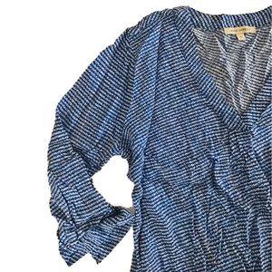 Anne Carson Tops - Anne Carson Blue Patterned Blouse