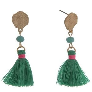 Green & Gold Tassel Earrings