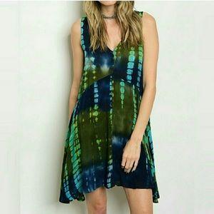 Dresses & Skirts - Tye Dye 100 Percent Rayon V-Neck Dress