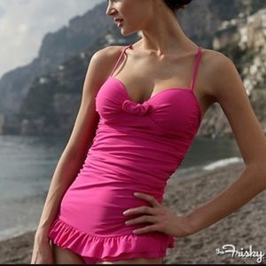 Albion Other - Albion Hot Pink Double Ruffle One-piece Swimsuit