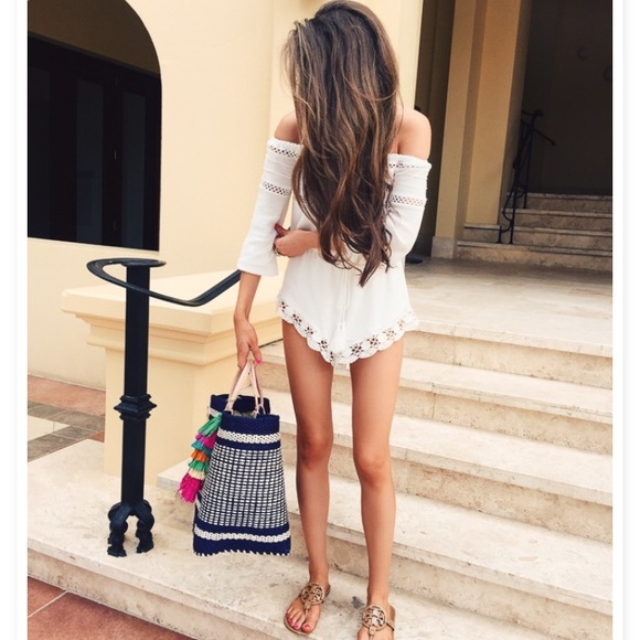 sun and shadow Dresses & Skirts - White lace trim off the shoulder romper