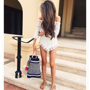 White lace trim off the shoulder romper