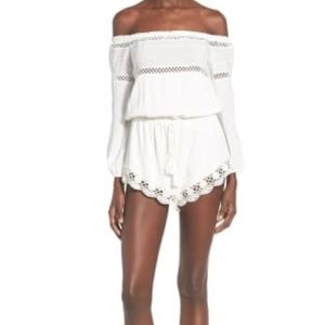 sun and shadow Dresses - White lace trim off the shoulder romper