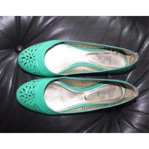 Belle by Sigerson Morrison Shoes - Teal Cutout Flats