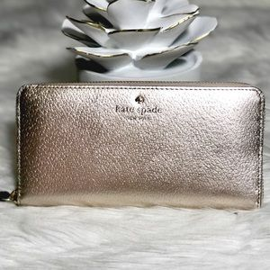 Kate Spade Neda Rose Gold zip Wallet