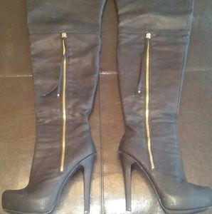 JustFab Ballantine black thigh high boots